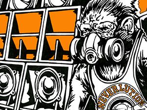 Neverlution Soundsystem ape design